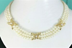 """Tiffany Co 18K Yellow Gold Round Diamond 3 Strand Cultured Pearl 16"""" X Necklace"""