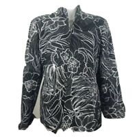 Austin Reed Womens Jacket Black Floral Long Sleeve Mandarin Collar Stretch 14
