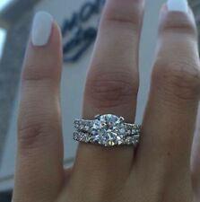Engagement Ring Set 14k White Gold 3Ct Round White Forever Moissanite Diamond