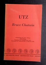 Bruce CHATWIN Utz UNCORRECTED PROOF Rare Modern First Edition w/ Dust Jacket!