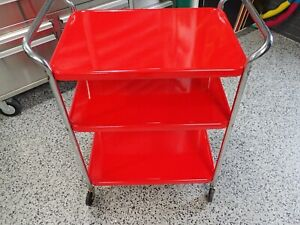 Mid-Century RED Cosco Kitchen Trolley Cart Three Tier Rolling Bar Stand Vintage