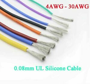 4 AWG - 30 AWG UL Silicone Flexible Stranded Cable 0.08mm RC Model Wire Colorful