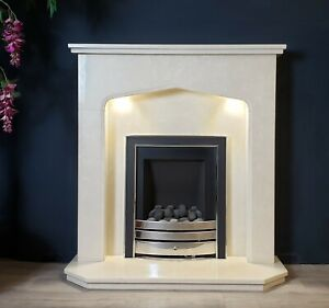 CREAM GOTHIC ARCH MARBLE FIREPLACE WITH LIGHTS