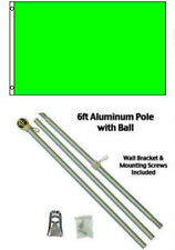 2x3 2'x3' Advertising Solid Neon Green Flag Aluminum Pole Kit Gold Ball Top