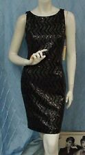 ALICE & OLIVIA by Stacey Bendet designer black sequined sheath dress,sz.6; NWT!!