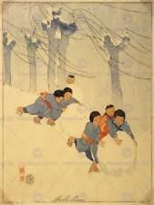 PITTURA DISEGNO GIAPPONESE Bambini Palla di neve inverno Bertha luminosità ART PRINT CC1110