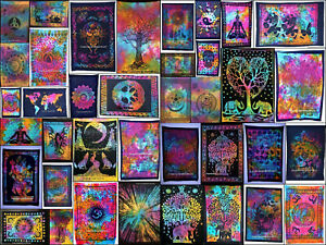 Indian Handmade Cotton Mandala Poster Size Yoga Mat Ethnic Table Cover Tapestry