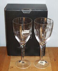 BNIB 2 x John Rocha Waterford Crystal Geo Goblet 100624 Tall Wine Glasses Signed