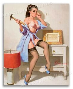 """The Wrong Nail"" 1960s Vintage Era Gil Elvgren PinUp Girl Poster - 16x20"