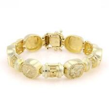 Amazing 14kt Yellow Gold Greek Pagan Dieties block link Bracelet Heavy