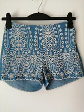 H&m Blue Shorts With Floral Embroidered Details UK Size 10 Eur 36
