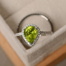 2.35Ct Pear Band Set Peridot Real Diamond Engagement Ring 14K White Gold Size N