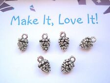 6 x 3D CUTE PINE CONE Charm Pendant 12mm x 7mm Christmas Crafts Fir Tree Nut