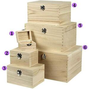 Wooden Treasure Chests Storage Pirate Boys Decorate Plain Trinket Sizes Box Set