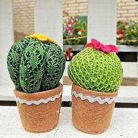 2 x Kunstblume Kunstpflanze rund Topf Kaktus Kakteen Stoff Tilda Higge Strick