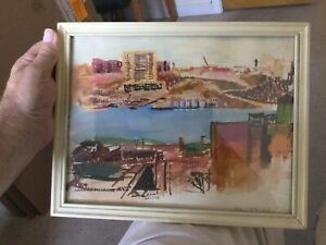 mid century MCM Modern Watercolor Cityscape painting Signed No Reserve