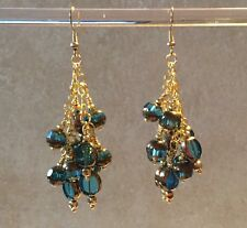 Antique Gold Dipped Aqua  Glass Handmade Beaded Dangle Earrings