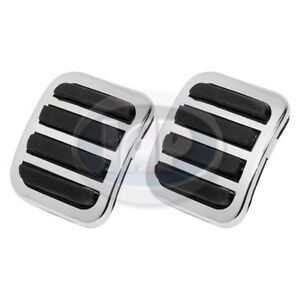 1950-1979 VW Bug Bus Ghia Clutch / Brake Pedal Covers Chrome Pads Set of 2 PAIR