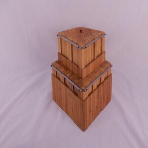 2pc 11 Slot Modern Triangular Bamboo Wood Knife Block