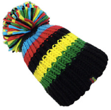 KARMA'S BIG BOBBLE HAT BLUE BLACK YELLOW GREEN RED STRIPES ONE SIZE FITS ALL BH2