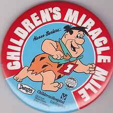 "VINTAGE 3"" PINBACK #D5-031 - CARTOON - FLINTSTONES FRED -CHILDREN'S MIRACLE MILE"