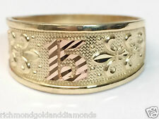 14k Rose & Yellow Gold Sweet 15 Birthday Quinceanera Ring Band Right Hnad