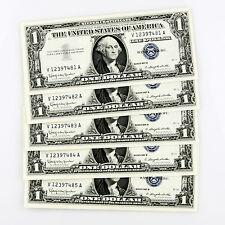 1957 B $1 Silver Certificate 5 Consecutive Notes V12397481A-V12397485A