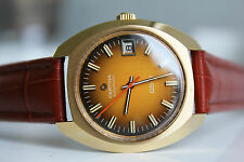 CERTINA DS-2 Automatic 20M Gold *NOS, 1974,  YELLOW-BROWN dial!*