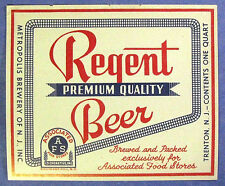 Metropolis Brewery ( for Associated Food Stores NY ) REGENT BEER label NJ 1qt