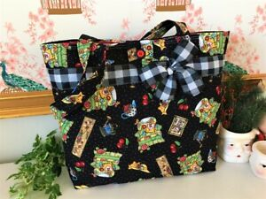 QUILTED SHOULDER BAG made w/ MARY ENGELBREIT Fab Buffalo Check Ribbon Bow NEW
