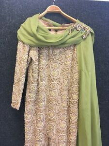 Gill Y Jacques  Designer Gold Green Beaded Dress Fashion Statement Piece Size 12