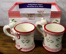 Temptations by Tara Peppermint Angel Christmas 12 oz. Mugs-set of 2-New open box