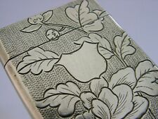 BEAUTIFUL CHINESE EXPORT SOLID SILVER BLOSSOM CARD CASE c1890 ANTIQUE