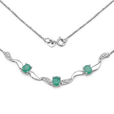 STERLING SILVER EMERALD & DIAMOND 17 INCH NECKLACE ANNIVERSARY BIRTHDAY GIFT