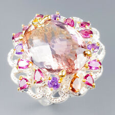 Handmade26ct+ Natural Ametrine 925 Sterling Silver Ring Size 8/R121679