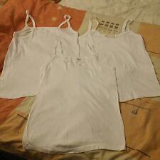 Baumwoll-Unterhemd  3Stück♥ Gr. 46 ♥ weiß ♥ mit Spitze und  Trägern Neu
