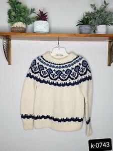 DANSPUN cream / blue Hand Knit Scandinavian Pattern Sweater 100% Wool,  Denmark