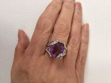 Genuine Amethyst & White Topaz Cross Over Silver Band Size 7