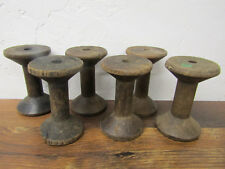 "Lot of 6 Antique Vintage Plain Wooden 3"" Tall Industrial Textile Bobbins Spools"