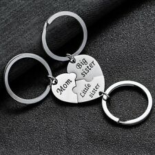 3PCs Gifts For Her Silver Heart Mum/Mom Big Little Sis Sister Keyring Women
