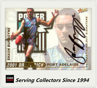 2001 Select AFL Authentic Draft Pick Signature Card DS12 Shaun Burgoyne (P.Adel)