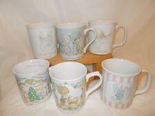6 Lot of Vintage Precious Moments Christmas Mugs 3-1985 1-1988 2-1993Great Shape