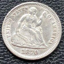 1870 Seated Liberty Half Dime 5c High Grade AU - UNC #25650