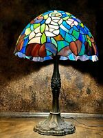 Vintage Stained Stag Glass Table LAMP / Light / Large Shade