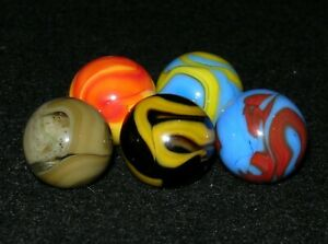 Vintage Christensen Agate Co. Mixed Marble Grouping (5) -- Incl. a Snotty