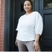 WOMEN'S PLUS SIZE PUFF 3/4 SLEEVE SCOOP NECK TOP- AVA&VIV WHITE 1X- NEW W/TAGS