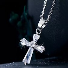 Tiny Cross Silver Necklace- White Gold Plated - CZ Crystal Pendant Necklace N101
