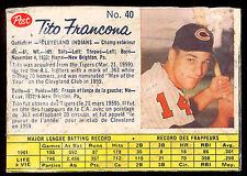 1962 POST CANADIAN BASEBALL #40 Tito Francona VG Cleveland Indians rare sp card