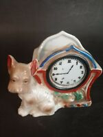 VINTAGE POTTERY CERAMIC JAPAN DOG AND CLOCK LUSTER FIGURAL PLANTER