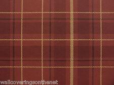 Brick Red, Charcoal & Beige, Tartan Style Wallpaper